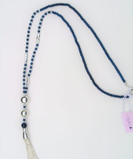 Navy Bead Tassel Necklace