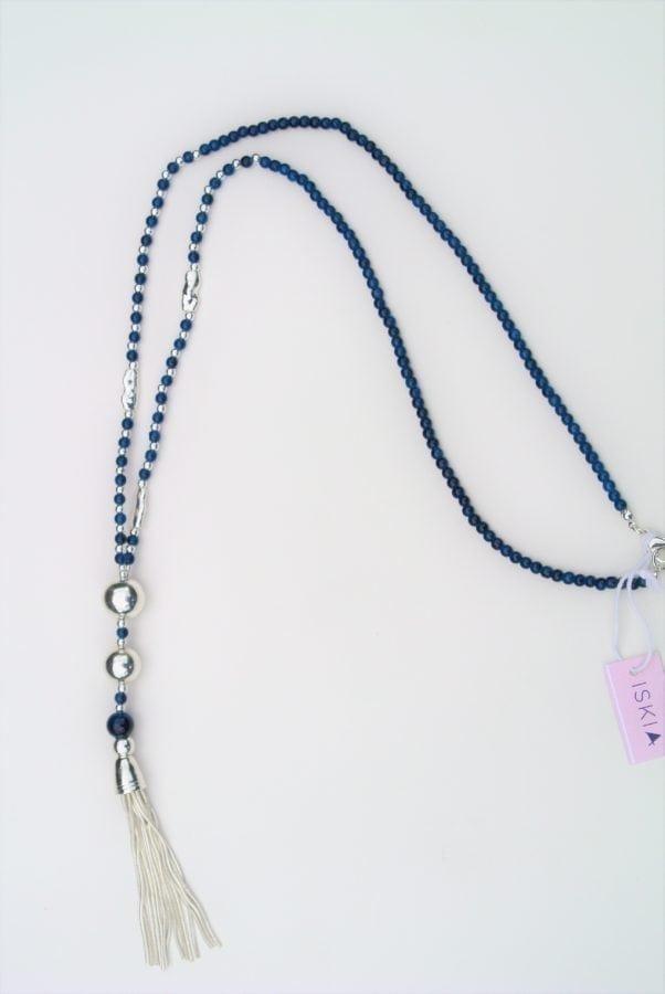 Navy Bead Tassel Necklace